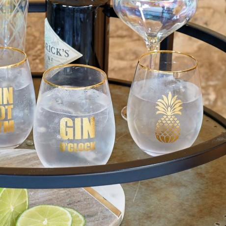 Pair of Gold Gin Glasses
