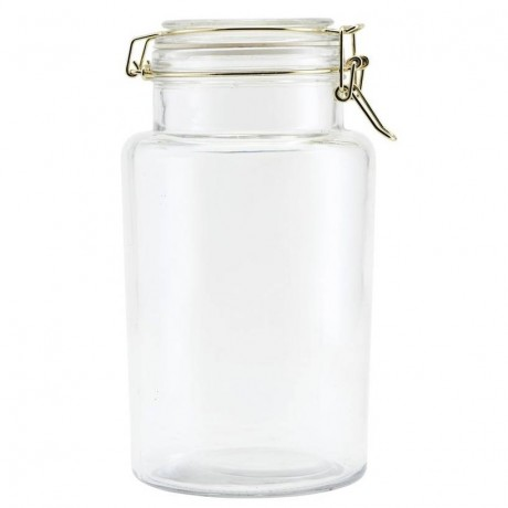 Large Gold Clip Storage Jar