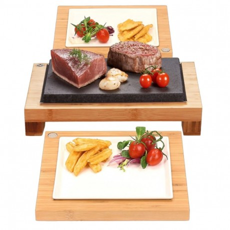 The Raised Steak Sharer & Server Hot Stone Cooking Set