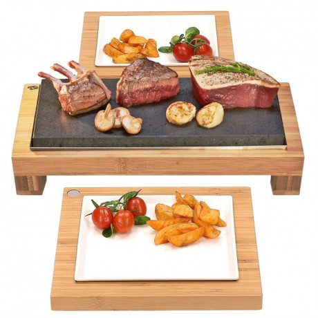 The Raised Sharing Steak Plate & Server Hot Stone Cooking Set