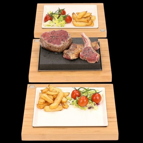 The Steak Plate & Server Hot Stone Cooking Set