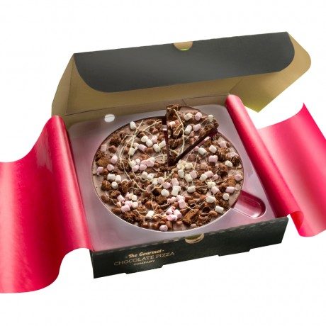 Rocky Road Chocolate Pizza with packaging