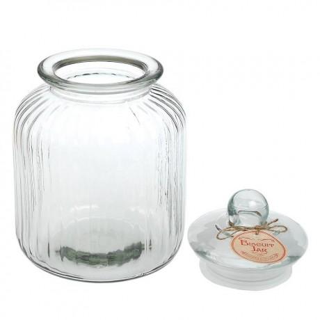 Large Ridged Glass Biscuit Jar