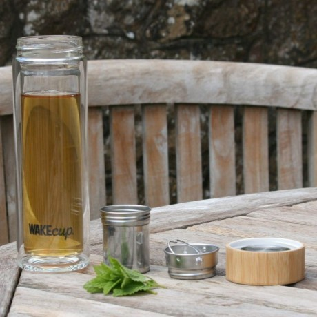 Premium Loose Leaf Green Tea & Glass Tea Infuser Bottle