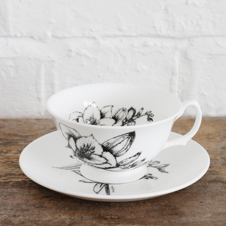 Fine Bone China Teacup & Saucer - Freesia & Orange Blossom