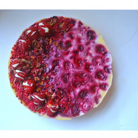 Dairy Free Baked White Chocolate Raspberry Cheesecake (Gluten Free)