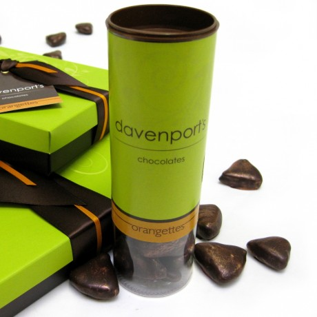 Davenport's Chocolates orangettes are also available in a chocolate gift box of twelve.