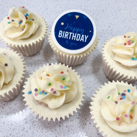 Gift Cupcakes Sent Happy Birthday Blue Message