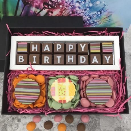 happy birthday Chocolate Gift Box with stripes