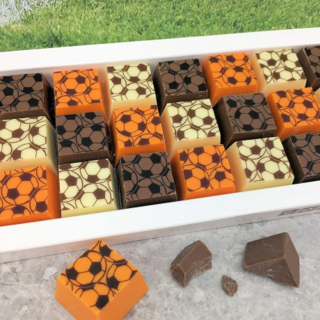 Cocoapod chocolate mosaic football milk white orange gift