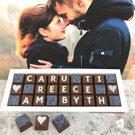 Cocoapod chocolates personalised welsh love you forever caru ti am byth chocolate gift