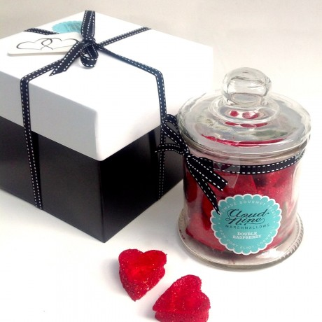 Double Raspberry Marshmallow Heart Jar