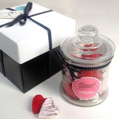 Champagne & Strawberries Marshmallow Heart Jar