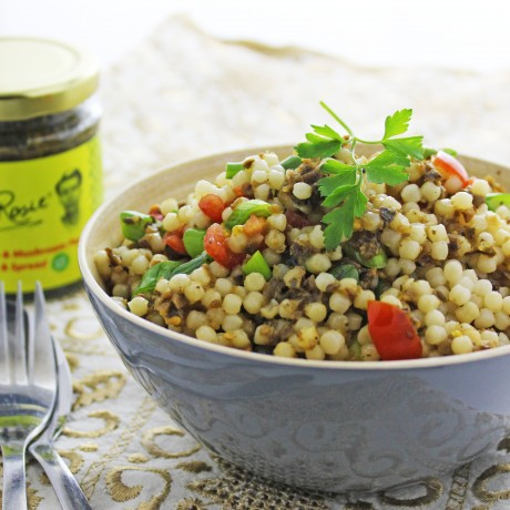 Aubergine & Mushroom Pesto with Cous Cous