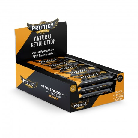 Prodigy Chunky Orange Chocolate with Baobab - No Refined Sugars 24 x 35g Bar