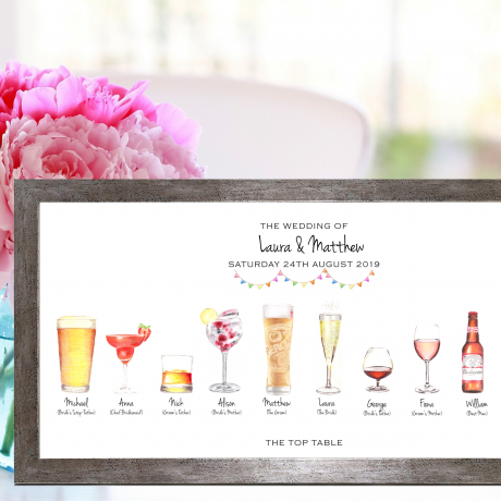 Unique personalised wedding drinks illustration print - a perfect wedding memento for the Bride & Groom