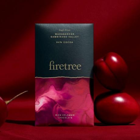 Firetree, Single Estate, Madagascar, Sambirano Valley, Rich Volcanic Chocolate Bar 84% Cocoa 2x65g