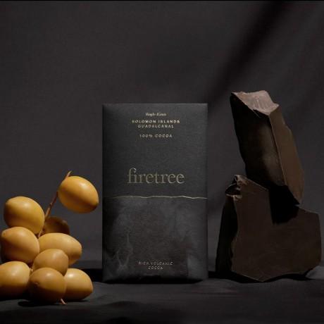 Firetree, Single Estate, Solomon Islands, Guadalcanal, Rich Volcanic Chocolate Bar 100% Cocoa 2x65g