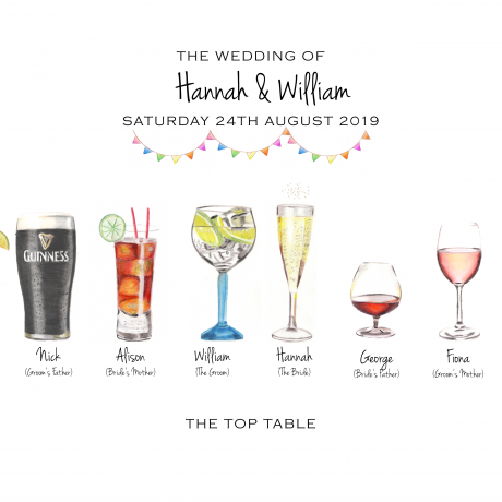 Personalised wedding drinks print (Top Table)