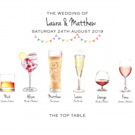 Personalised wedding drinks illustration print - a perfect wedding memento for the Bride & Groom