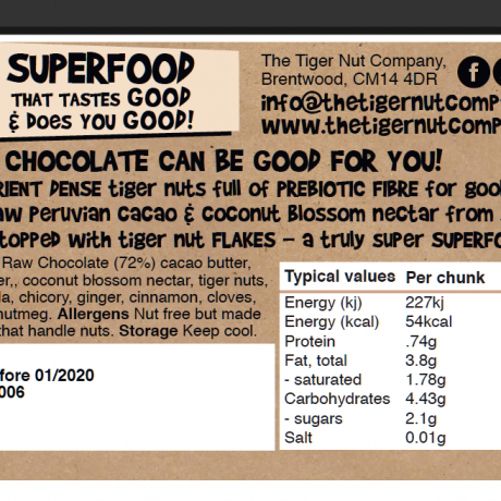 Raw Chai & Tiger Nut Chocolate Bar - 3 pack