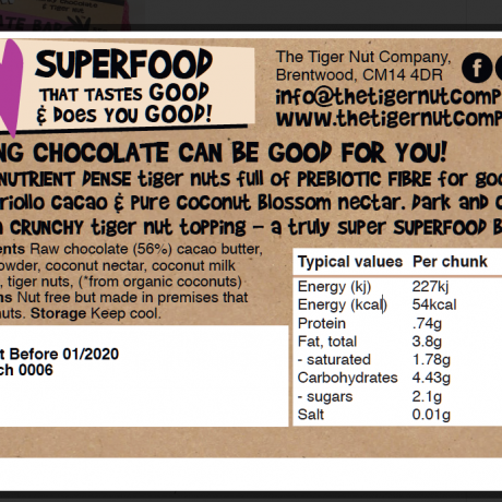 Raw Chocolate and Tiger Nut Bar - 3 Pack
