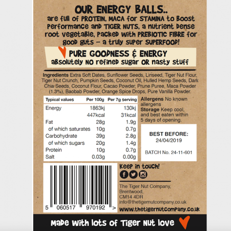 Raw Energy Balls - Tiger Nut, Chocolate & Orange with Maca, 3 pack