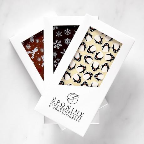 Dark, milk & white chocolate bars with festive designs