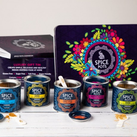 Spice Pots Luxury Gift Tin (5 Indian Spice Blends, Chef's Candle & Cookbook)