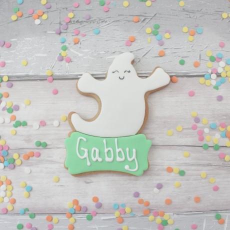 Friendly ghost personalised halloween cookie