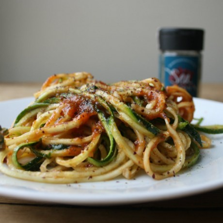 Courgetti with tomato and dulse seaweed