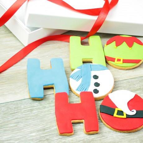 Luxury Christmas Ho Ho Ho Biscuits Gift Box - Father Christmas, Snowman, Elf