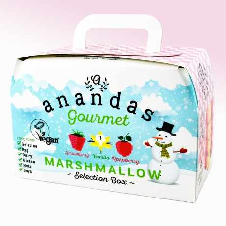 Festive Gourmet Vegan Marshmallow Gift Box - Strawberry, Vanilla & Raspberry