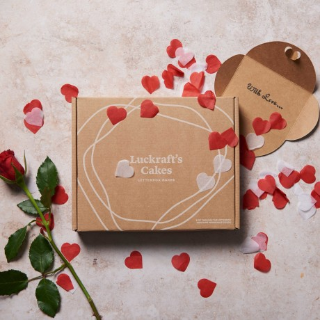 Valentines Letterbox Cake Gift Box with Message Card and Love Heart Confetti