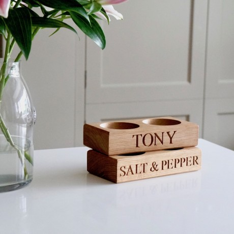 Wooden Personalised Salt and Pepper Bowls
