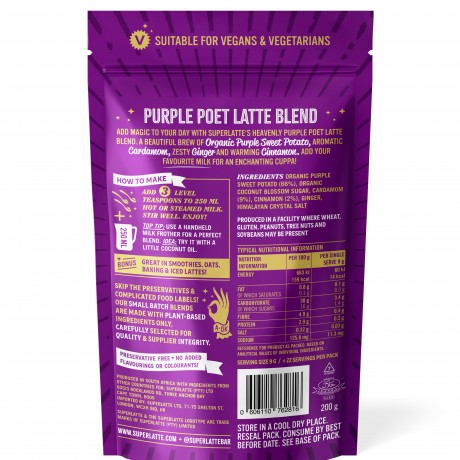 Purple Poet Latte Blend - Purple Sweet Potato, Cinnamon & Cardamom 200g