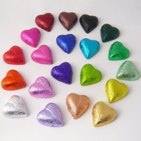 12 Foiled Handmade Chocolate Hearts in Clear Pack