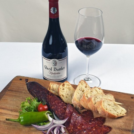 Salami with red wine