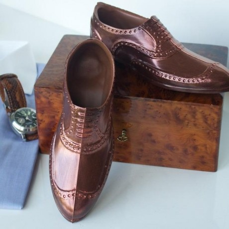 Porter Dark Chocolate Brogue with Bronze Effect - Chocolate Shoe