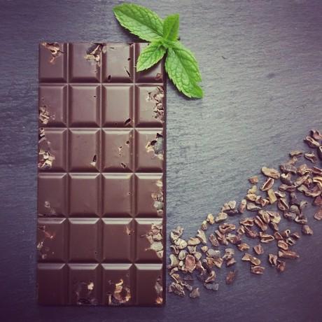 Handmade Dairy Free Milk Chocolate Bars with Peppermint & Cacao Nibs (3 bars)