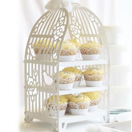 White Birdcage Design Cupcake Stand