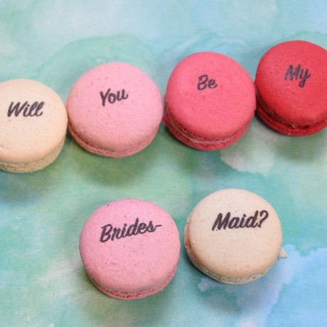 Will you be my bridesmaid macarons