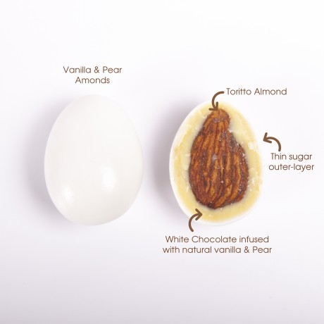 Vanilla & Pear Almonds- White Chocolate Coated Almonds with Unique Flavours.