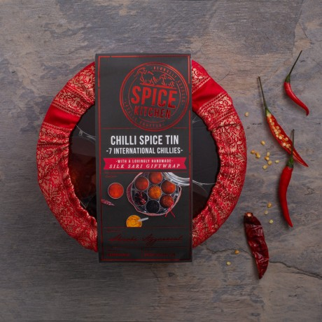 International Chilli Collection with 7 Chillies, Storage Tin & Handmade Silk Sari Wrap