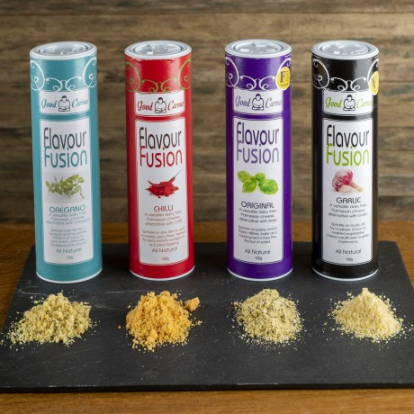 Flavour Fusion Multi Pack all 4 products of nut based parmesan alternatives.