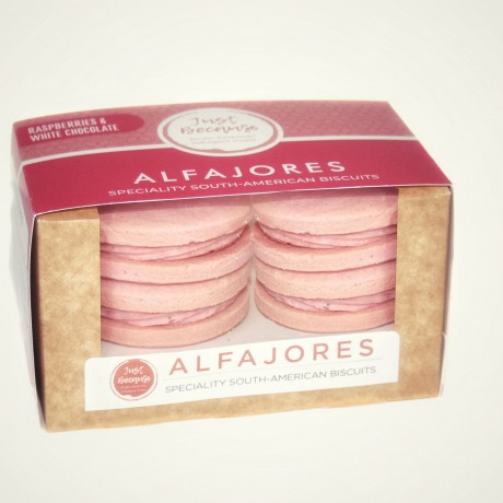 Raspberries & White Chocolate Alfajores Biscuits