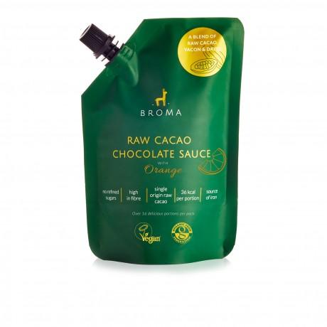 Vegan and Organic Raw Cacao Chocolate Sauce with Orange