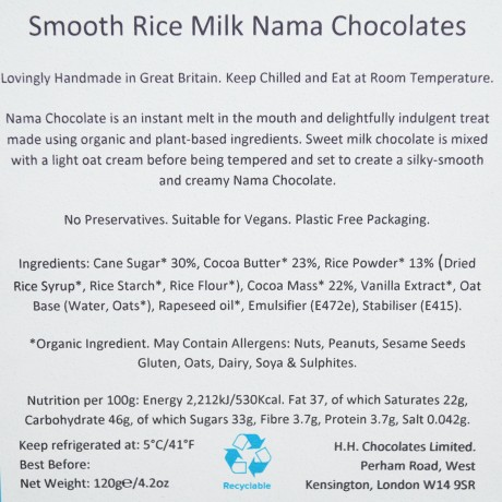Luxury Vegan Handmade Smooth Rice Milk Japanese Nama Chocolate Truffles by H.H. Chocolates of London - 16 Pavé Pieces, 120g