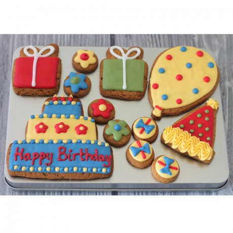 Happy Birthday Biscuit Gift Tin (Box of 12)