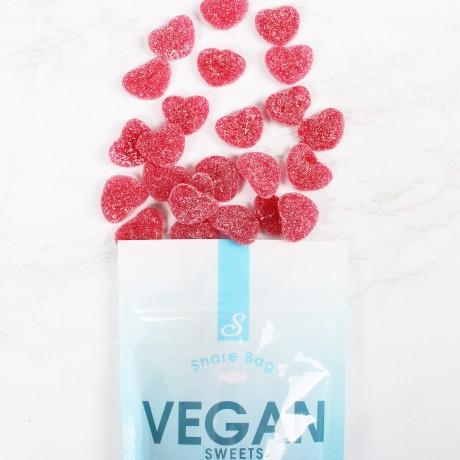 Vegan Fizzy Strawberry Hearts - 300g Share Bag
